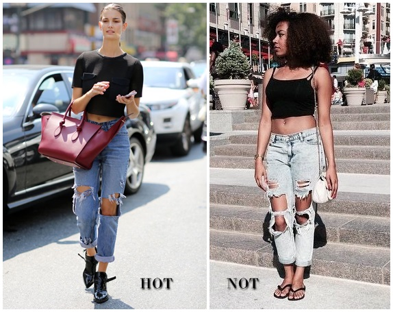 cropped top ripped jeans