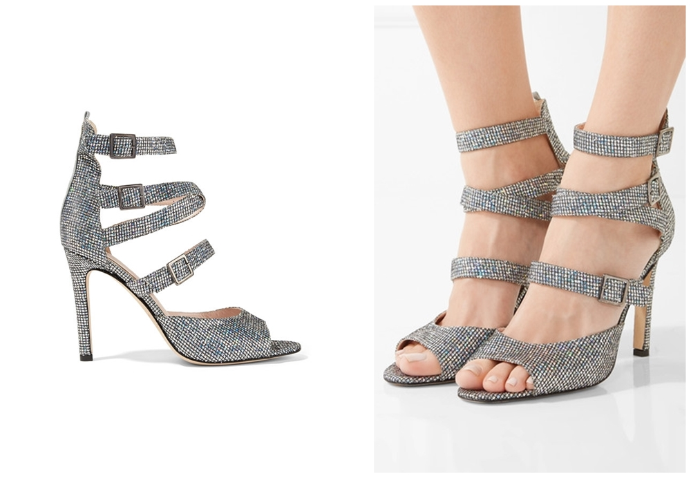 Fugue glittered leather sandals sjp holiday capsule collection