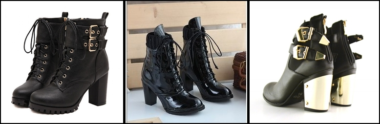 leather boots thick heel