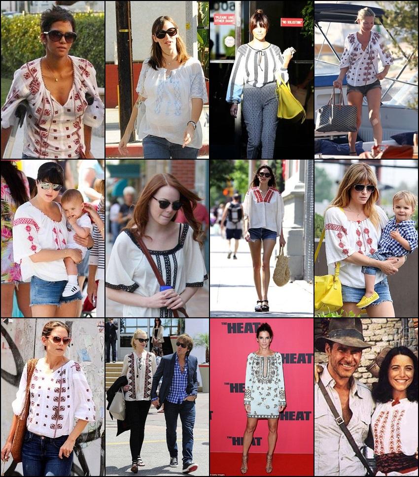 celebrities wearing romanian blouse