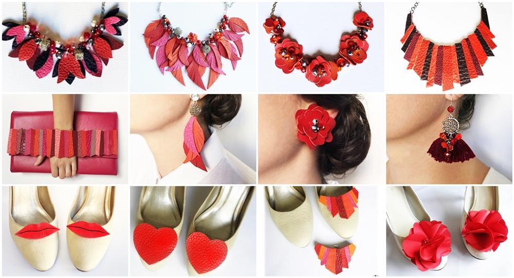 accesorii roşii din piele