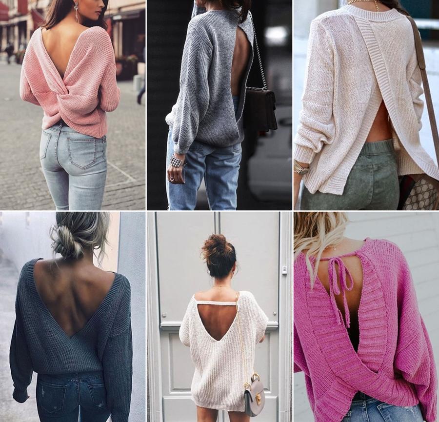 pulover cu spatele gol